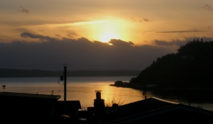 Sunset nearly due west over Scatchet Head as we approach the Equinox - a Cultus Bay Stonehenge moment